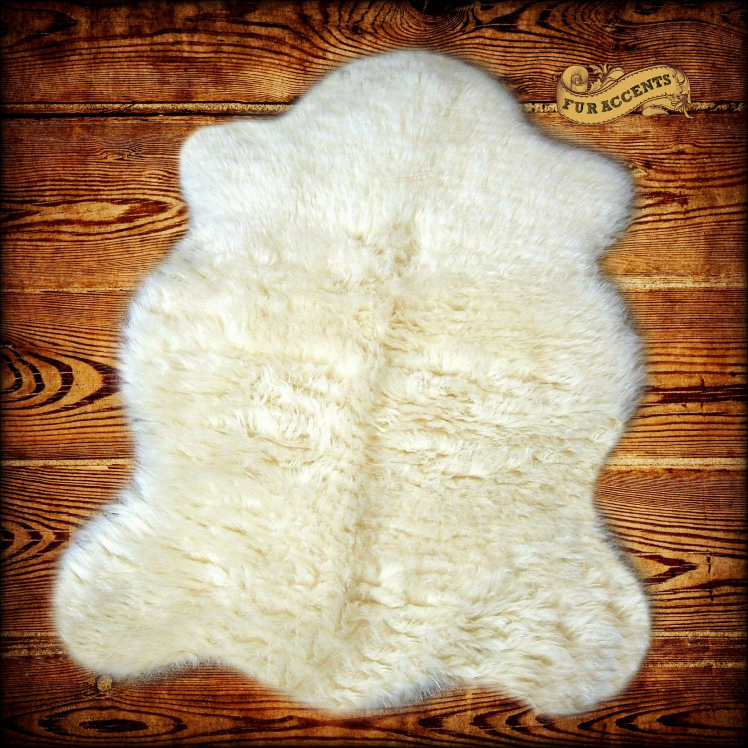 FUR ACCENTS Fake Sheepskin Area Rug Faux Fur By FurAccents