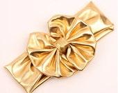 Gold Metallic Messy Bow