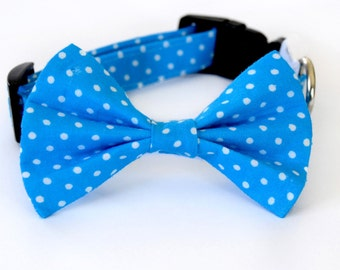 Ocean blue and white polka dot dog bow tie collar & cat bow tie collar with bell (optional)