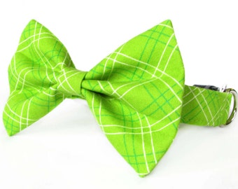 Green plaid cat bow tie collar & dog bow tie collar set - adjustable with removable bell (optional)