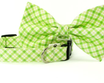 Green and yellow plaid cat bow tie collar and dog bow collar, adjustable with bell (optional)
