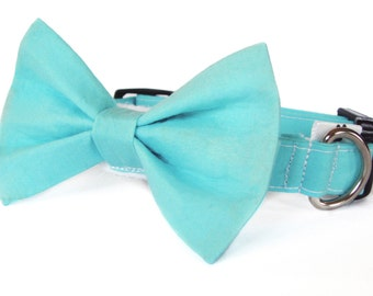 Aqua dog bow tie collar set & cat bow tie collar set - adjustable with bell (optional)