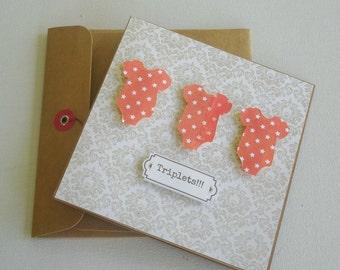 Orange with white polka dot triplet onesie. triplet gift card. baby shower card. baby shower gift card. triplet gender neutral gift card