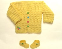 Handmade Spring Baby Sweater Set with Booties