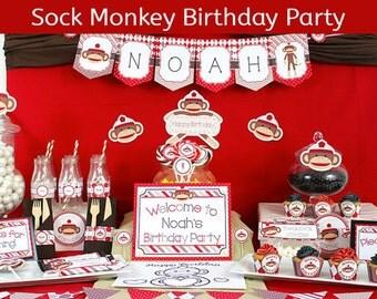 Sock Monkey Party Decorations / Sock Monkey Birthday Party Decorations / DELUXE Party Supplies