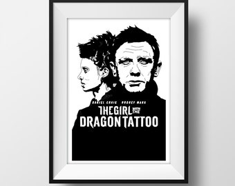 Girl with the Dragon Tattoo Poster - Graphic Illustration A4 - Art Print