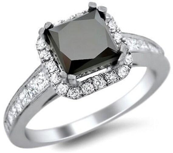 2 53ct black princess cut engagement ring 18k white