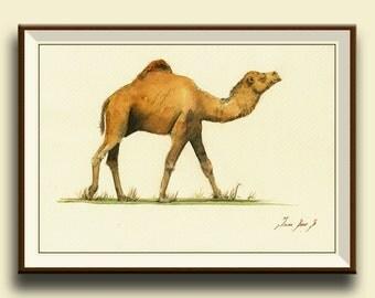 PRINT-Camel animal-  dromedary camel desert animal - camel art wall decor-  Art Print by Juan Bosco