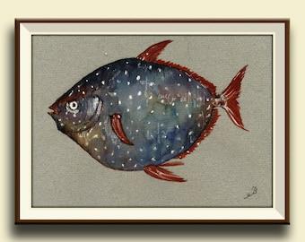 PRINT-Opah fish moonfish sunfish  - fishing art wall watercolor painting print nautical decor  fish  - Art Print by Juan Bosco