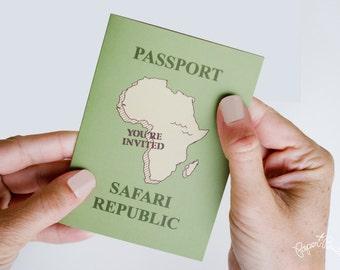 Safari Party Passport Invitation, Safari Birthday, Safari Animals, Jungle Birthday, Safari Baby Shower, Safari Bridal Shower, Animal Party
