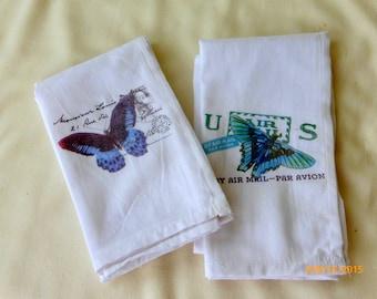 Butterfly Towels   Flour Sack Towel   Tea Towel   Dish Towel   100% Cotton