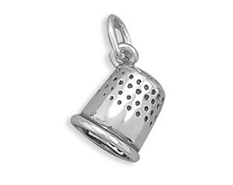 Stamped .925 Sterling Silver  SEW/QUILT - Hobby Theme - THIMBLE Jewelry Charm