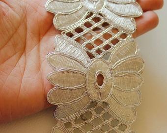 Silver Shimmer Thread Flower Cut Work Lace Trim, 74 mm Wide - 030315L95