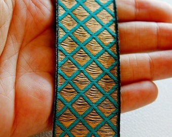 Teal And Copper Thread Embroidery One Yard Lace Trim 32mm Wide - 030315L45