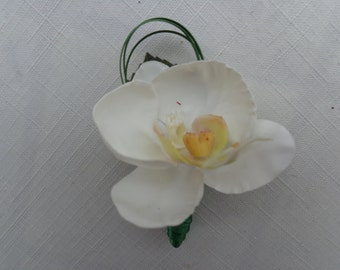 Boutonniere designed in a white phalaenopsis orchid