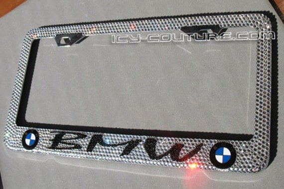 bmw custom swarovski crystal bling license plate frame