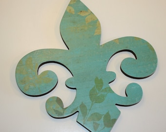 Distressed Turquoise decor, Shabby chic Fleur de lis wall decor, Turquoise wall decor, French decor, Fleur de lis wall art