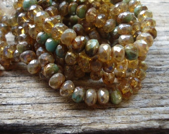Beige champagne mix 5x3 rondell Czech glass beads, with turquoise and brown mix