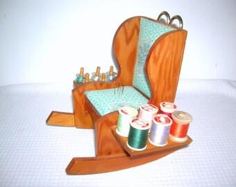 Handmade Vintage Sewing Rocking Chair Caddy Wooden Rocking Chair Pin Cushion Thread Scissor Holder Bobbin Scissors Holder Made USA Antique