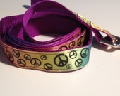 """Dog Leash Peace Sign Pattern 1"""" wide 5ft long Store Closing Sale!!"""