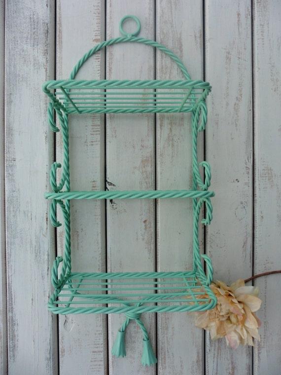Vintage Metal 3 Tier Wall Shelf Aqua Turquoise Home Decor