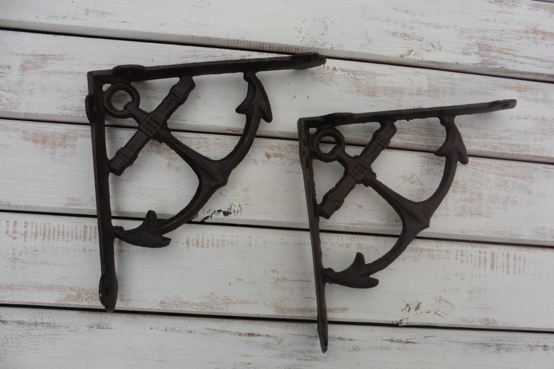 Set of 2 ANCHOR Shelf Brackets Cast Iron Nautical Beach