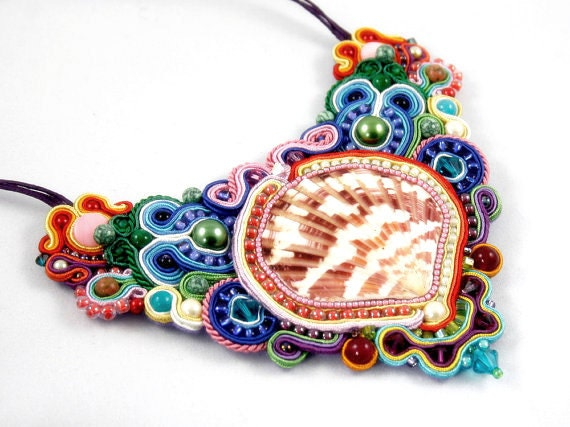 SWAROVSKI & soutache, Colorful and very beautiful kolia,  HANDICRAFT