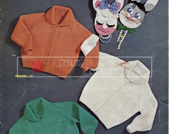 Boy's and Girl's Lumber Jackets 2-4 years DK Sirdar 214 Vintage Knitting Pattern PDF instant download