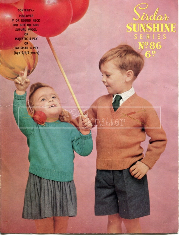 Boy's and Girl's Pullovers 4-ply 2-6 years Sirdar 86 Vintage Knitting Pattern PDF instant download