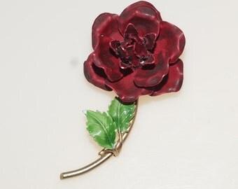 """Dark Red Enamel Blooming Rose Flower 2.75"""" Pin Brooch"""