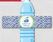 Blueberry Themed Water Bottle Labels - Blueberry Themed Birthday - Weatherproof Labels - Digital or Handcrafted - FREE SHIPPING