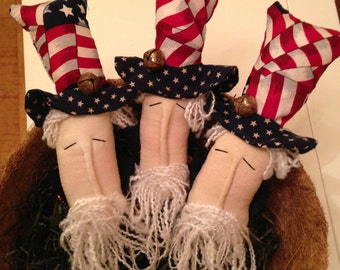 Primitive Americana Patriotic Uncle Sam Heads, Set of Three Bowl Fillers, Ornies or Tucks