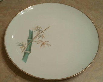 """On Sale Noritake Ivory China """"Oriental"""" Design 10 inch Dinner Plate with Bamboo Stalk"""