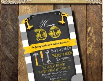 Honey Do Shower Invitation Mens Shower Invite Tools Drill Couples Shower Man Groom printable Gray yellow Digital file