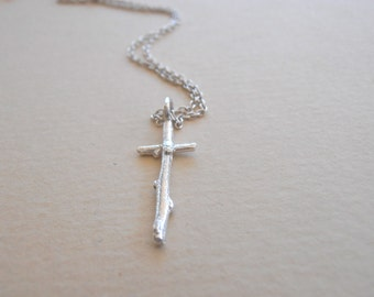 Twig Cross necklace, Galilee Twig Cross necklace, Sterling Silver cross charm. Custom made