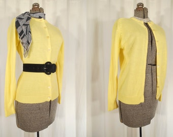 1950s Cardigan / 1950s Sweater / Yellow Sweater / Large Cardigan / Long Sleeve Button Front Cardigan / Bright Yellow