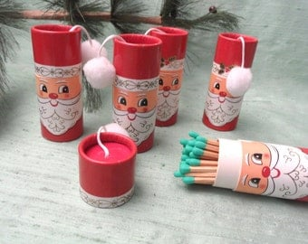 Five Santa matchboxes with pom poms / 1967 Japan / vintage matches, cylindrical match box match holder