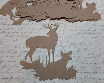Die Cut Deer Scene, made with KRAFT Cardstock.        #AB-16