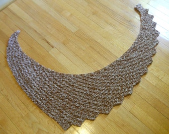 Asymmetrical Crescent Shawl / Shoulder Wrap / Prayer Shawl in Cinnamon and Cream, Unique Shape and Shorter Length, Works as a Scarf Too!