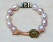 Boho Leather Wrap Bracelet . Pearls . Amazonite . Pyrite and Rhinestones . Antique Button .Wedding Gift
