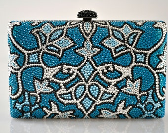 Swarovski ELEMENTS Patterned Minaudiere Blue aqua Silver Crystal Metal case rectangle box clutch purse bag