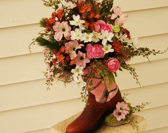 Country Western Cowboy Boot Congratulations Baby Girl Floral Arrangement / Centerpiece
