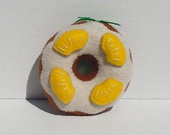 Handmade Holiday Felt Pineapple Doughnut Ornament