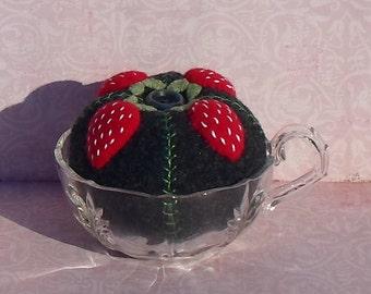 Handmade Felted Wool Strawberries Pincushion