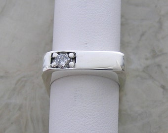 Sterling Silver Sleek Square Diamond Ring