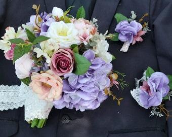 artificial flower handmade wedding bridal bouquet purple white pink rose hydrangea