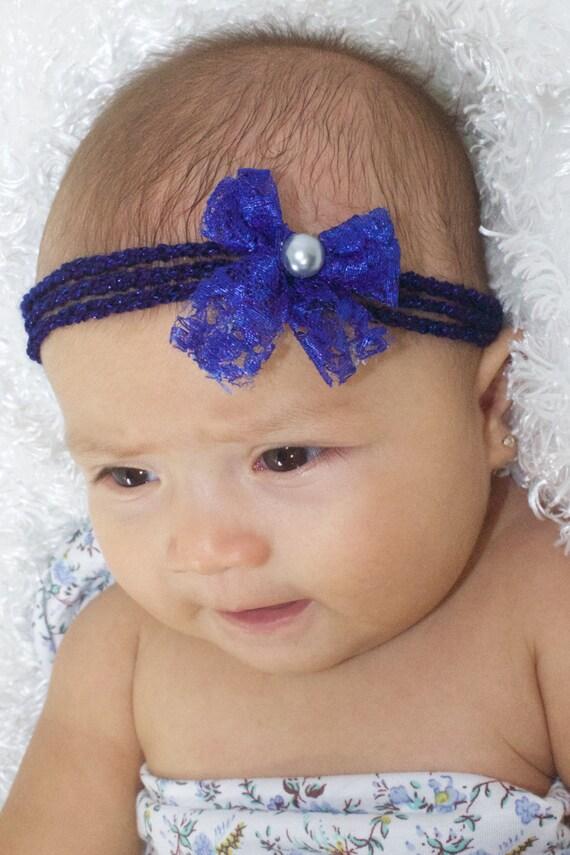 Baby Blue Headband, Baby Bows, Bow Headband, Infant Headband, Baby Headband, Blue Headband Baby, Crochet Headband