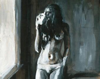 Large Nude Art Print, figure painting, nude painting, large format art, thepaintedgrove