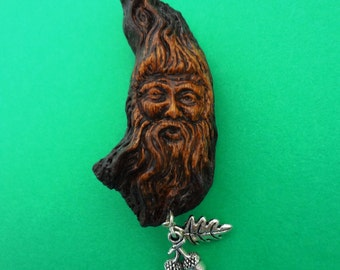 The Spirit of the Woods Green Man with oak leaf and acorns brooch