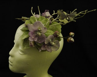 Orchid and Butterfly Fascinator